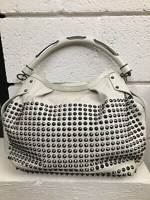 Burberry Rowan Studded Hobo Bag White Cream EUC