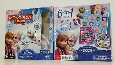 Monopoly Junior Disney Frozen Edition + Disney 6 in 1 Games Complete Checked