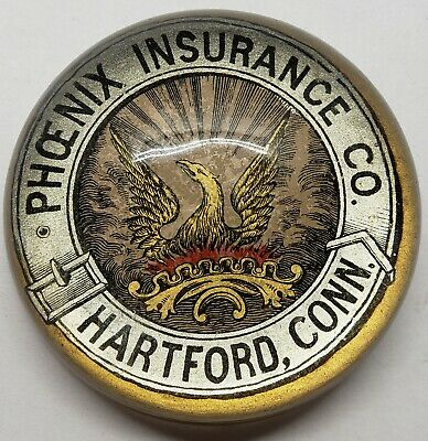 Vintage Phoenix Insurance Company Paper Weight Hartford Connecticut Paperweight