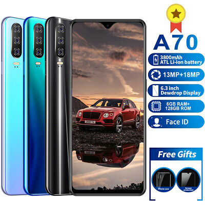 Dual SIM Face ID Unlocked Mobile Cell Smart 4G Phone Android 9.1 128GB HD Camera
