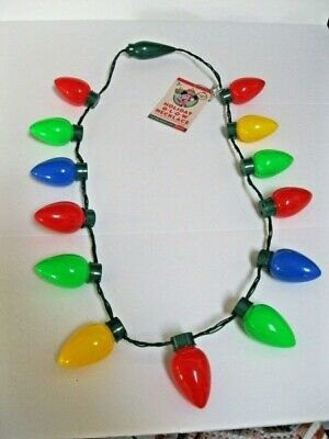 NEW Disney Parks LED Christmas Light-Up Holiday Glow Necklace Flashing Bulbs