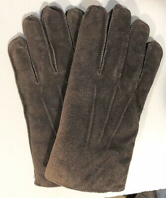 Vintage Ladies Isotoner ARIS Leather Gloves Brown Faux Sheepskin Lining Sz Large