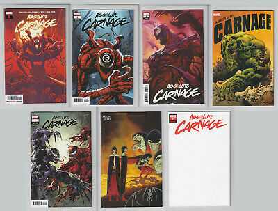 Absolute Carnage #1 7 Book Variant Lot Marvel 2019 Blank VF+/ NM