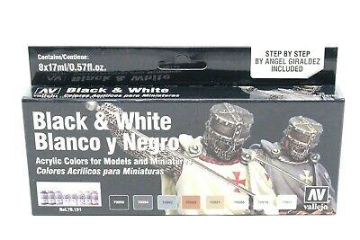 Vallejo Black and White Paint Set New