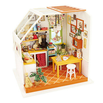 ROBOTIME DIY Wooden Dollhouse with Miniature Modern House Toy for Children Girls