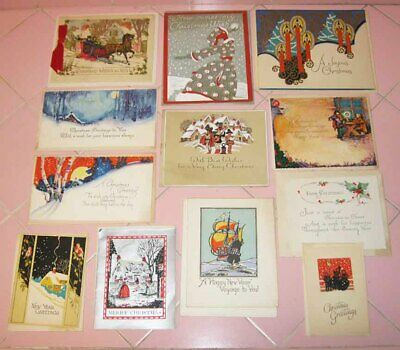 12 Vintage 1920s Merry Christmas & Happy New Years Cards UnUsed Art Deco Wishes