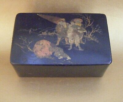Antique Chinoiserie Lacquer Wood Box / Tea Caddy ~ Buddhist Theme