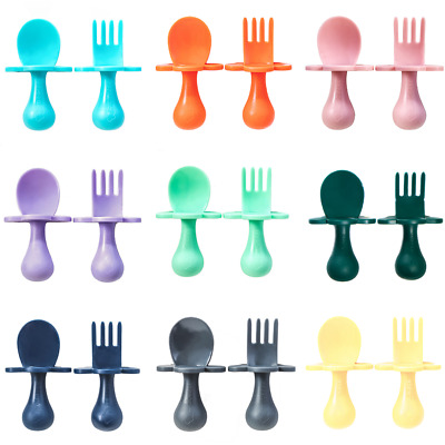 Baby Cutlery AUTHENTIC Grabease Short-handled Toddler Fork and Spoon Cutlery Set
