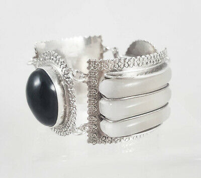 Old VTG Antique Mexico Heavy Sterling Silver Mother of Pearl Onyx Panel Bracelet