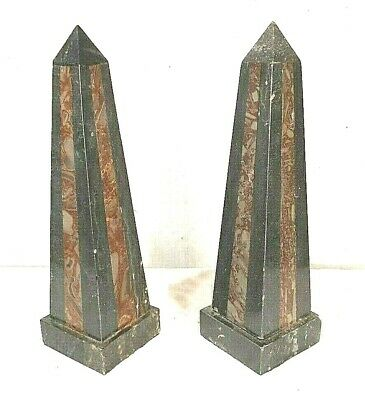 Vintage Pair Of Black Marble Obelisks With Red Marble Inlay