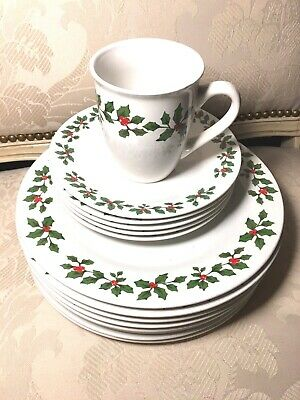 ROYAL NORFOLK Christmas Dishes Holly Berries Cups Salad & Dinner Plates