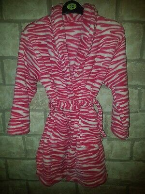 Girls Brand New Supersoft Hot Pink Zebra Dressing Gown Age 7-8years