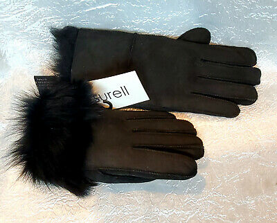 SURELL Women's Shearling Sheepskin Winter Warm Gloves sz M black Suede Real Fur