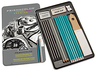 Prismacolor 24261 Premier Graphite Drawing Pencils with Erasers & Sharpeners,