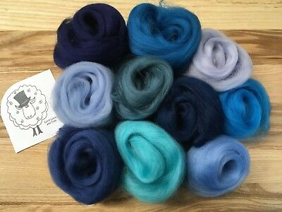 Merino wool roving/tops - beautiful blues - wet/needle felting/spinning (BB)