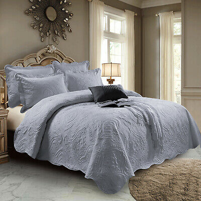 Luxury Quilted Bed Throw Bedspread Double King Size Embroidered Grey Bedding Set