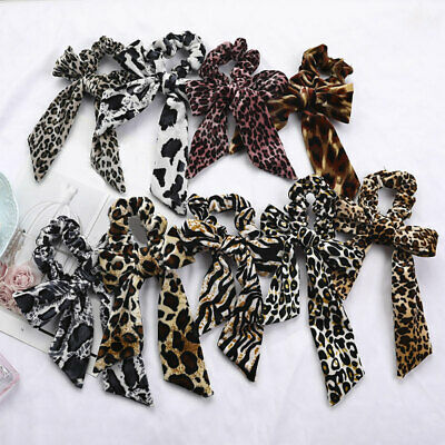 Leopard Knotted Velvet Scrunchies Streamers Lady Bow Hair Rope Elastic Hair Ties