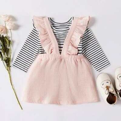 Cute Toddler Infant Baby Girls Stripe Tops Bowknot Strap Skirt Outfits Clothes
