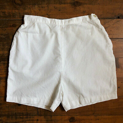 Vintage 1960s 'Delta' high waisted, flat front, cream cotton shorts