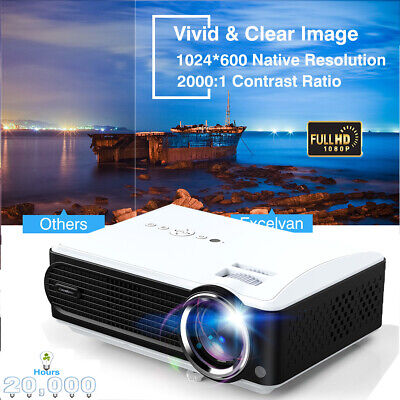 7000Lumens HD 1080P LED LCD Projector Media Home Outdoor Cinema HDMI USB 2000:1