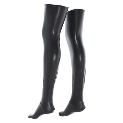 Sexy Wet Look Faux Leather PVC Stockings & Leggings Ups Hold Fetish J9Z2