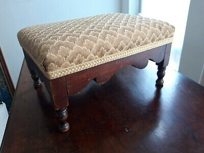 Antique Victorian Mahogany Upholstered Footstool