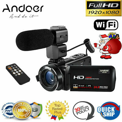 "Full HD 1080P WiFi Digital Zoom Video Camera Camcorder 3"" Touchscreen IR Remote"