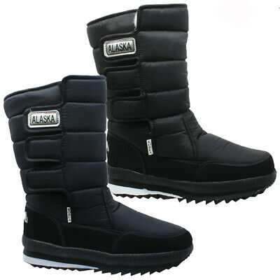 Mens Waterproof Snow Boots Winter Mucker Thermal Fur Wellingtons Ski Shoes Size
