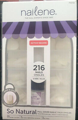 NAILENE False Nails - Active Square - DIY MEGA KIT - 216 Nails - 12 Sizes