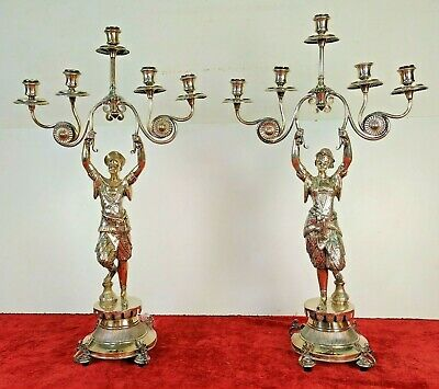 Couple Of Large Candelaba. 5 Lights. Silver. Masriera Punches. Spain. Xixth