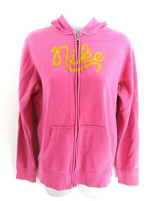 NIKE Girls Hoodie Jacket 13-15 Years XL Pink Cotton & Polyester
