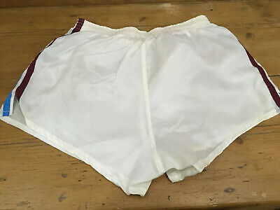 "Vintage 1980s Pegasus Football Sport Shorts Shiny Glanz Men 36 38"" White England"