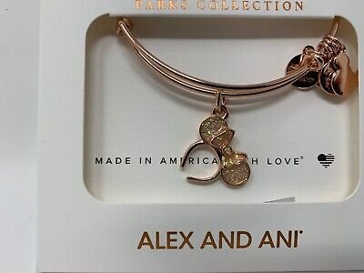 Disney Alex and Ani Minnie Mouse Ears Bangle Rose Gold Bracelet Headband Ear