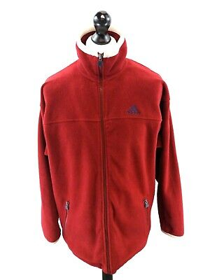 ADIDAS Mens Fleece Jacket 38/40 L Large Burgundy Red Polyester Full Zip Retro