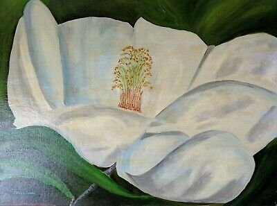 LARGE MAGNOLIA FLOWER -- 24x18 ORIGINAL OIL PAINTING ON CANVAS PANEL
