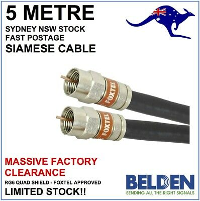 5m - Genuine Foxtel Approved Siamese Belden RG6 Quad Shield Coax Cable