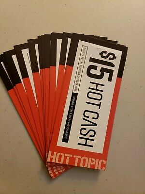 Hot Topic Hot Cash $15 off $30 January 1/16 To 1/26 (lot of 14) - Free Shipping