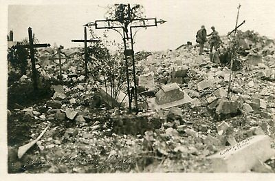 Carte PHoto PERTHES Cimetière et église en ruines