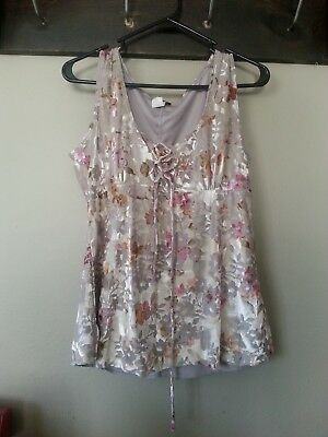 Vanity womens ladies XLG tank stretchy soft w/pastel colors, gray, pinks, white
