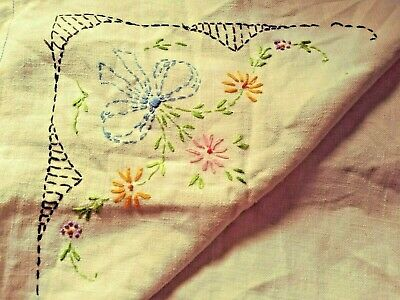 Vintage Irish Linen Table Topper with Hand Embroidered Raised Floral Graphics