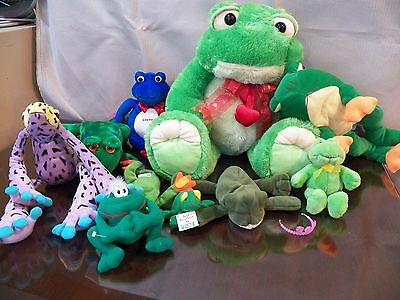 FROGS ~ Stuffed Animal - Lot of 10 Mixed Lot Various Plush Toys