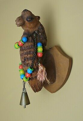 Vintage Mid Century Wood Carved Camel Head Carving Wall Sconce With Bell
