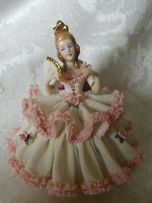 EXCEPTIONAL German Dresden Lace Figurine Lady in Chair With Fan Excellent Cond.