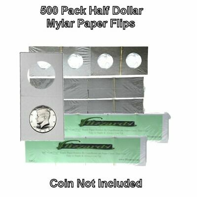 500 Cardboard/Mylar 2x2 Coin Holder Flips for Half Dollar 30.6mm, by Guardhouse
