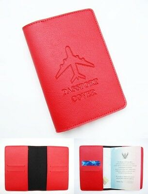Red Unisex Travel Accessory Soft Leather Classic Passport Cover ID Card Holder