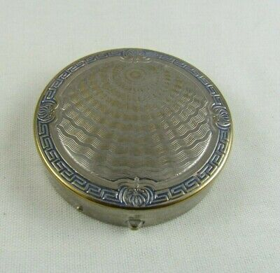 Vintage KARESS Woodworth Compact, Silver w/Blue Guilloche Vanipat Powder,ArtDeco