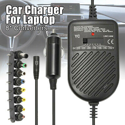 80W DC 12V Universal Car Power Supply Charger Adapter For Laptop Notebook CS