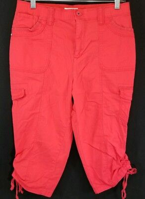Cato Red Women's Size Classic 10 Casual Capri Pants w/ Tie at Cuffs