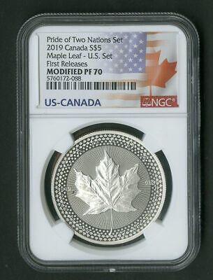 2019 Canada Modified Proof Silver Maple Leaf NGC PF70 First Releases US Set