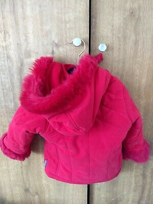Adams Kids Girls Red Coat Fur Lined With Detachable Hood 9-12 Months